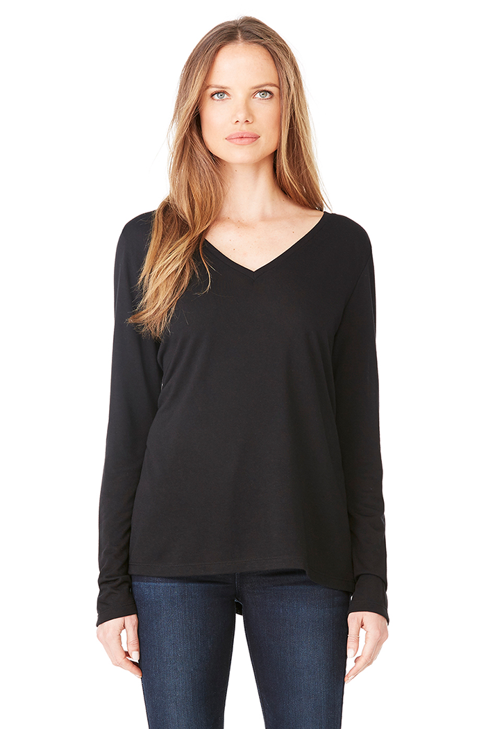 Women's Flowy Long-Sleeved Tee - Black