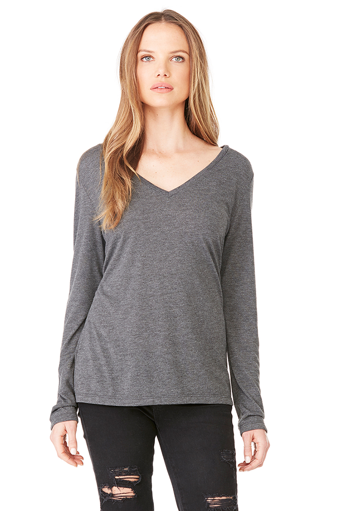 Women's Flowy Long-Sleeved Tee - Dark Grey