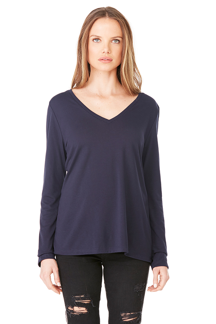 Women's Flowy Long-Sleeved Tee - Midnight