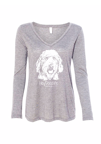 The Original HeyDood.life Women's Long-Sleeved Tee - White on Light Grey